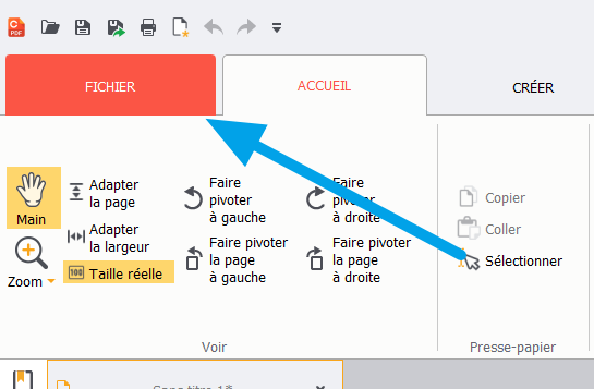 PDF Creator > Onglet Fichier